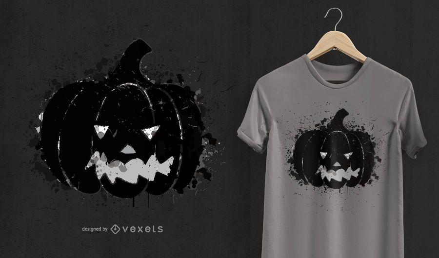 Diseño de camiseta calabaza halloween.