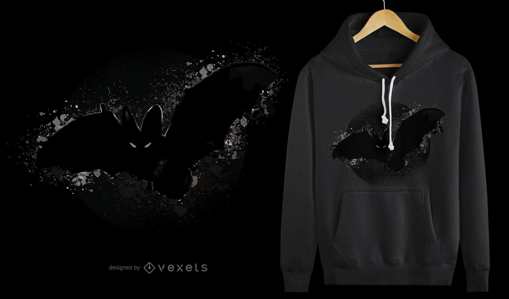 Diseño de camiseta de murciélago de Halloween