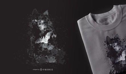 Schwarze Katze Halloween T-Shirt Design