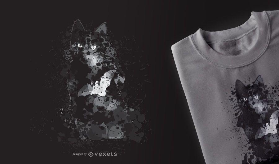 Design de t-shirt do gato preto Halloween