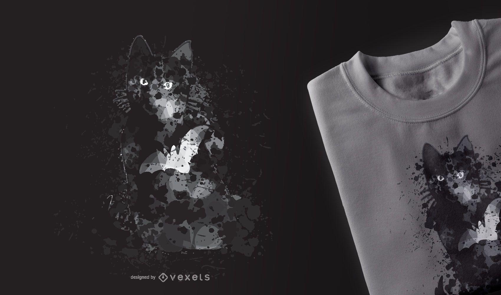 Diseño de camiseta Black Cat Halloween