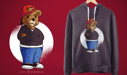 Projeto do t-shirt do urso do adolescente