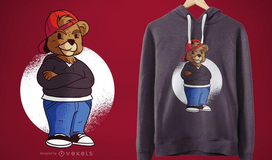 Projeto do t-shirt do urso do adolescente