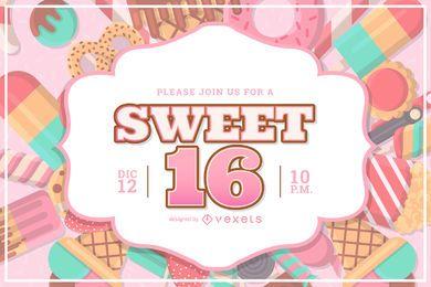 Diseño de invitación de fiesta de dulces 16