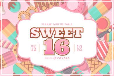 Sweet 16 Party Invitation Design