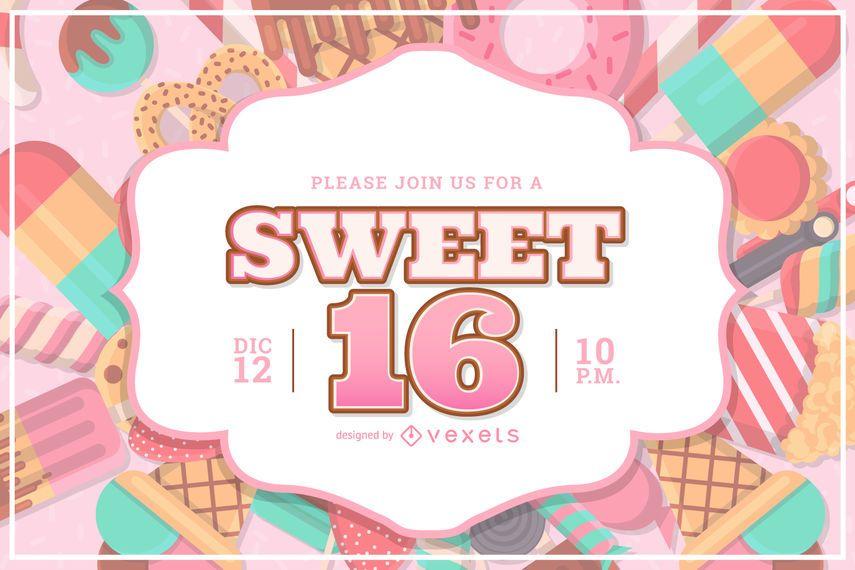 Design de convite de festa doce 16