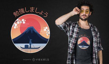 Projeto do t-shirt da montanha de Fuji