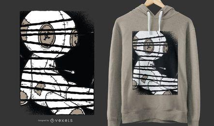 Projeto escuro do t-shirt da boneca do Voodoo