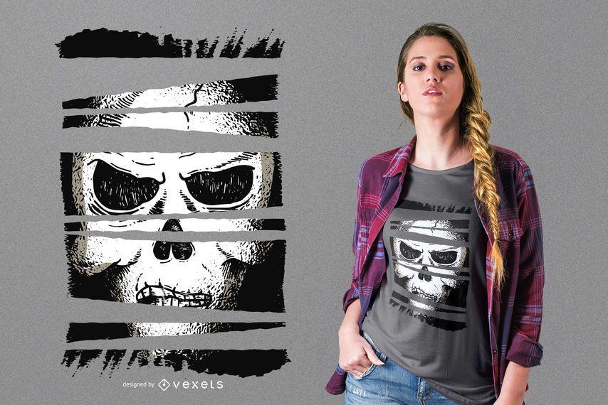 Diseño de camiseta calavera oscura