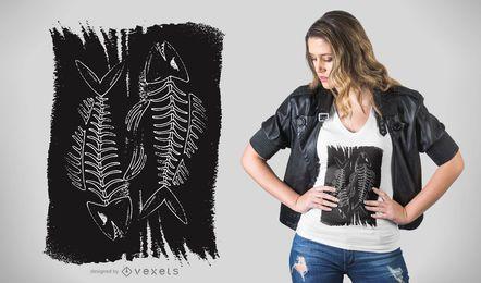 Diseño de camiseta de huesos de pescado oscuro