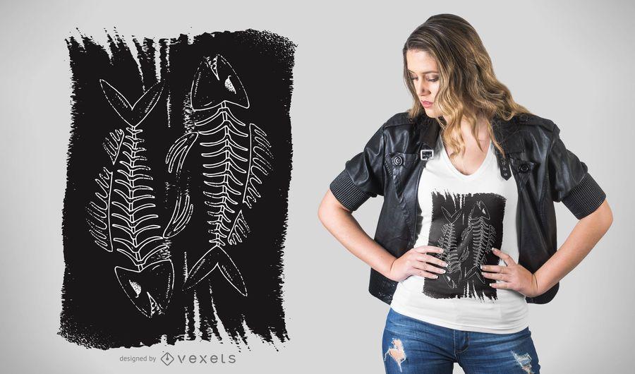 Diseño de camiseta de huesos de pez oscuro