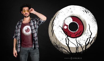 Design de t-shirt de bola de olho escuro
