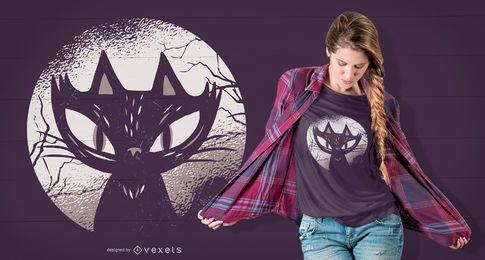 Design de t-shirt de gato escuro
