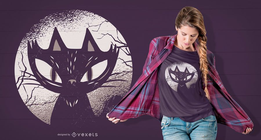 Diseño de camiseta de gato oscuro