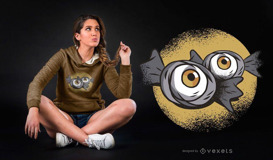 Diseño de camiseta de caramelos del globo ocular
