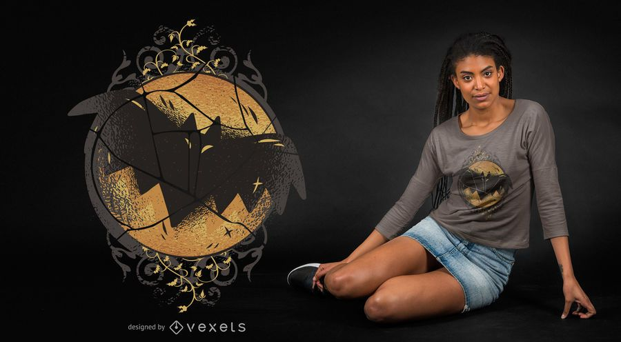 Dark bat t-shirt design