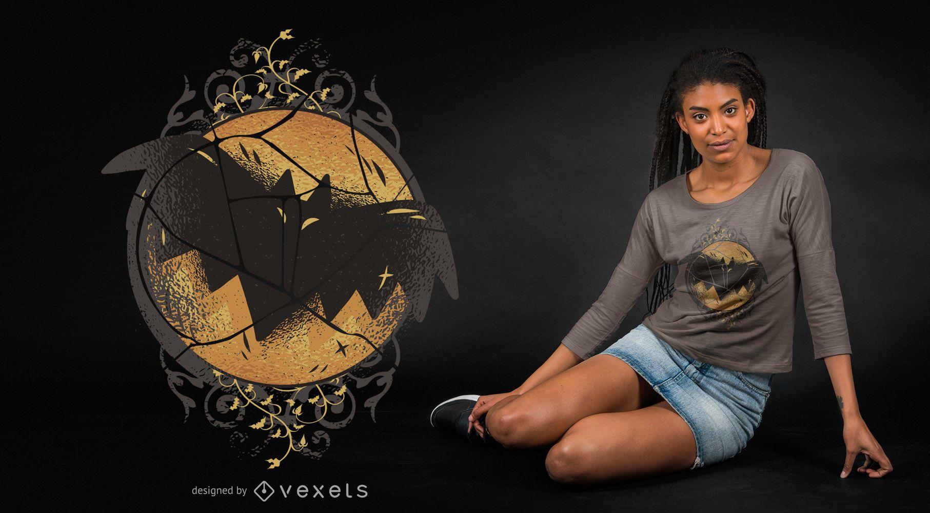 Diseño de camiseta de murciélago oscuro