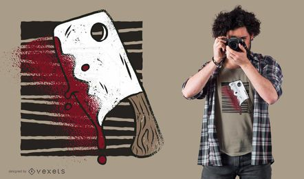 Diseño de camiseta sangrienta hacha