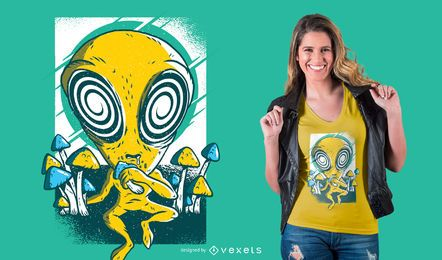 Design de t-shirt de cogumelos psicodélico alienígena