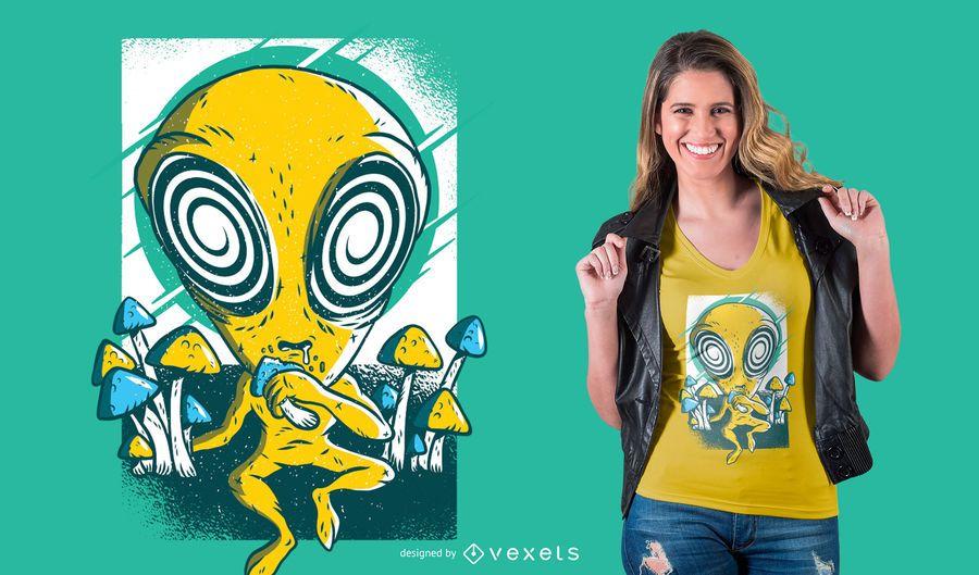 Alien psychedelic mushrooms t-shirt design