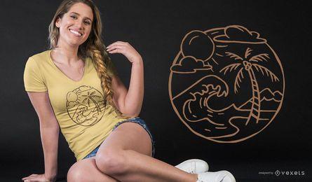 Diseño de camiseta de contorno de playa