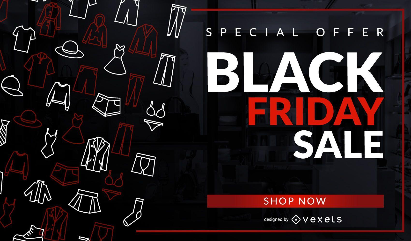 Diseño de ropa de venta de viernes negro