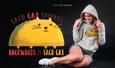 Diseño gráfico de la camiseta del gato del taco