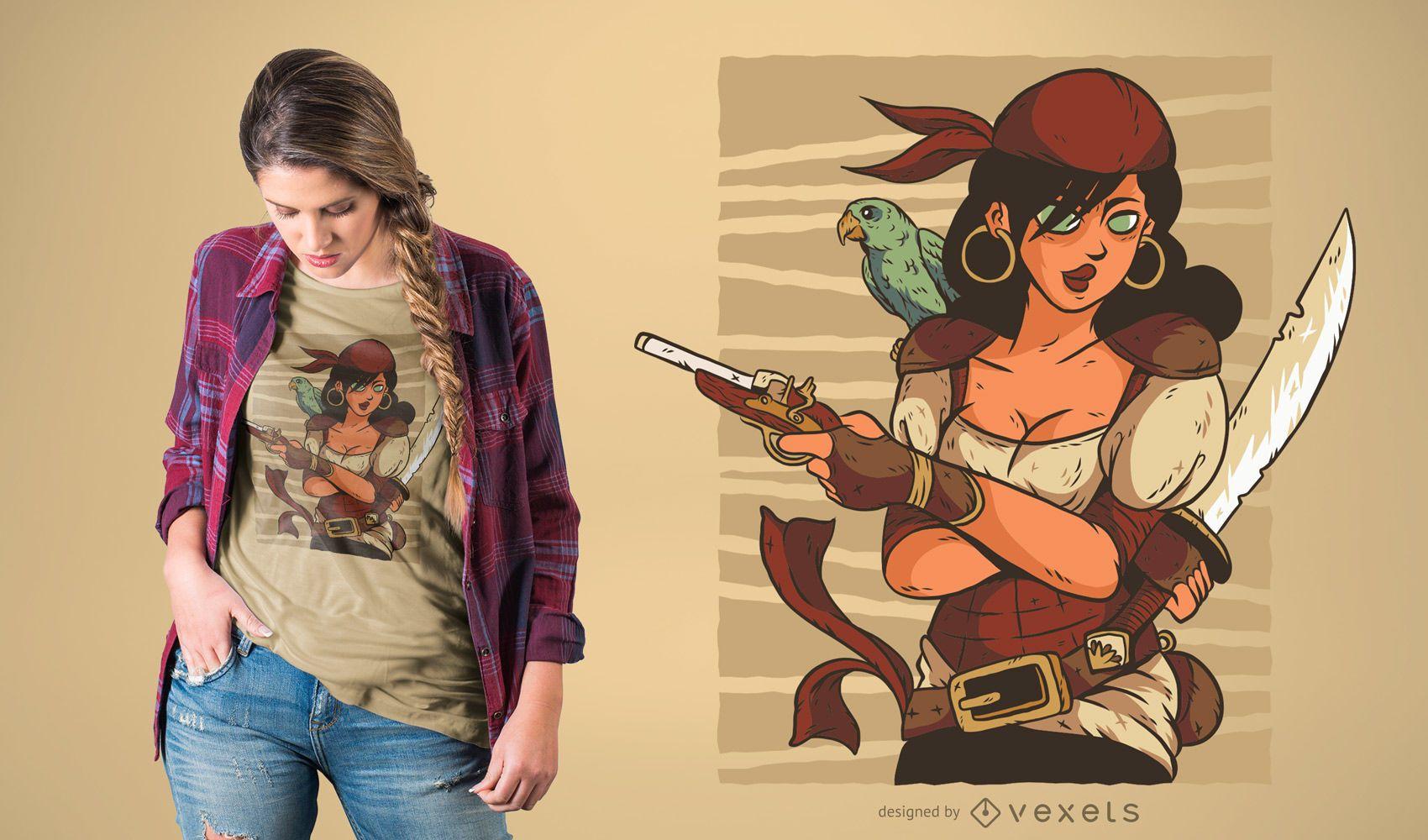 Diseño de camiseta pirata femenina