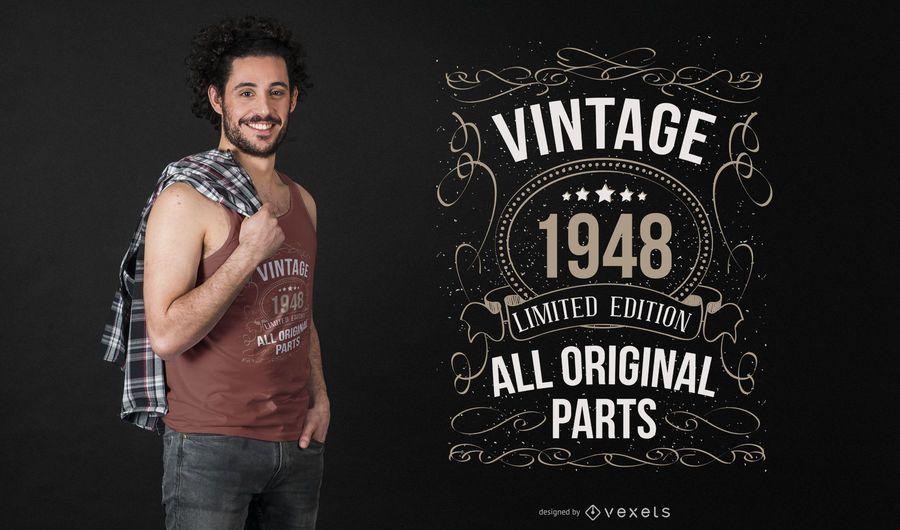 Weinlese-Geburtstags-Grafik-T-Shirt Design