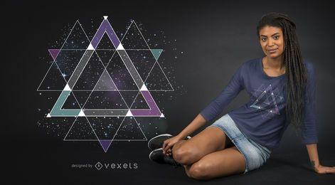 Diseño gráfico de la camiseta del espacio geométrico