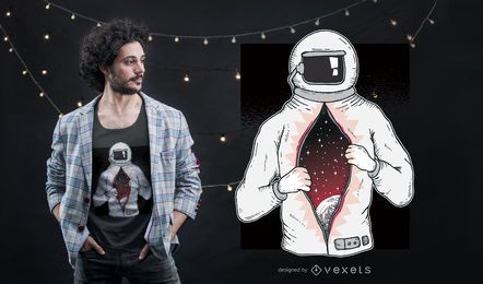 Astronaut mit Universum im T-Shirt-Design