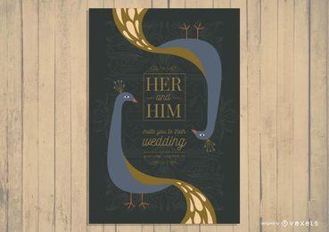 Design de convite de cartão de casamento asiático