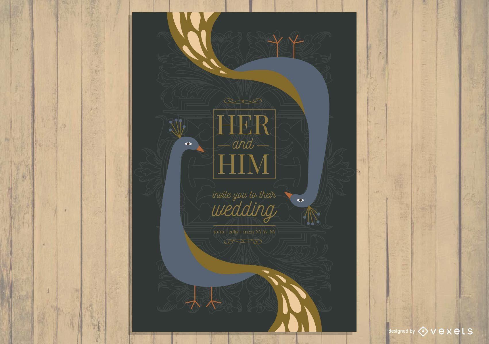 Diseño de invitación de boda asiática