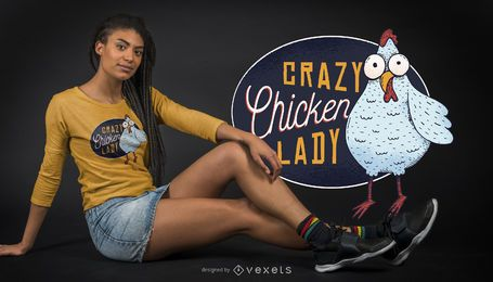 Diseño de camiseta de Crazy Chicken Lady.