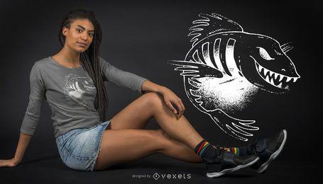 Design de t-shirt de peixe escuro