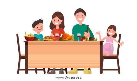 Diseño de vector de familia de acción de gracias