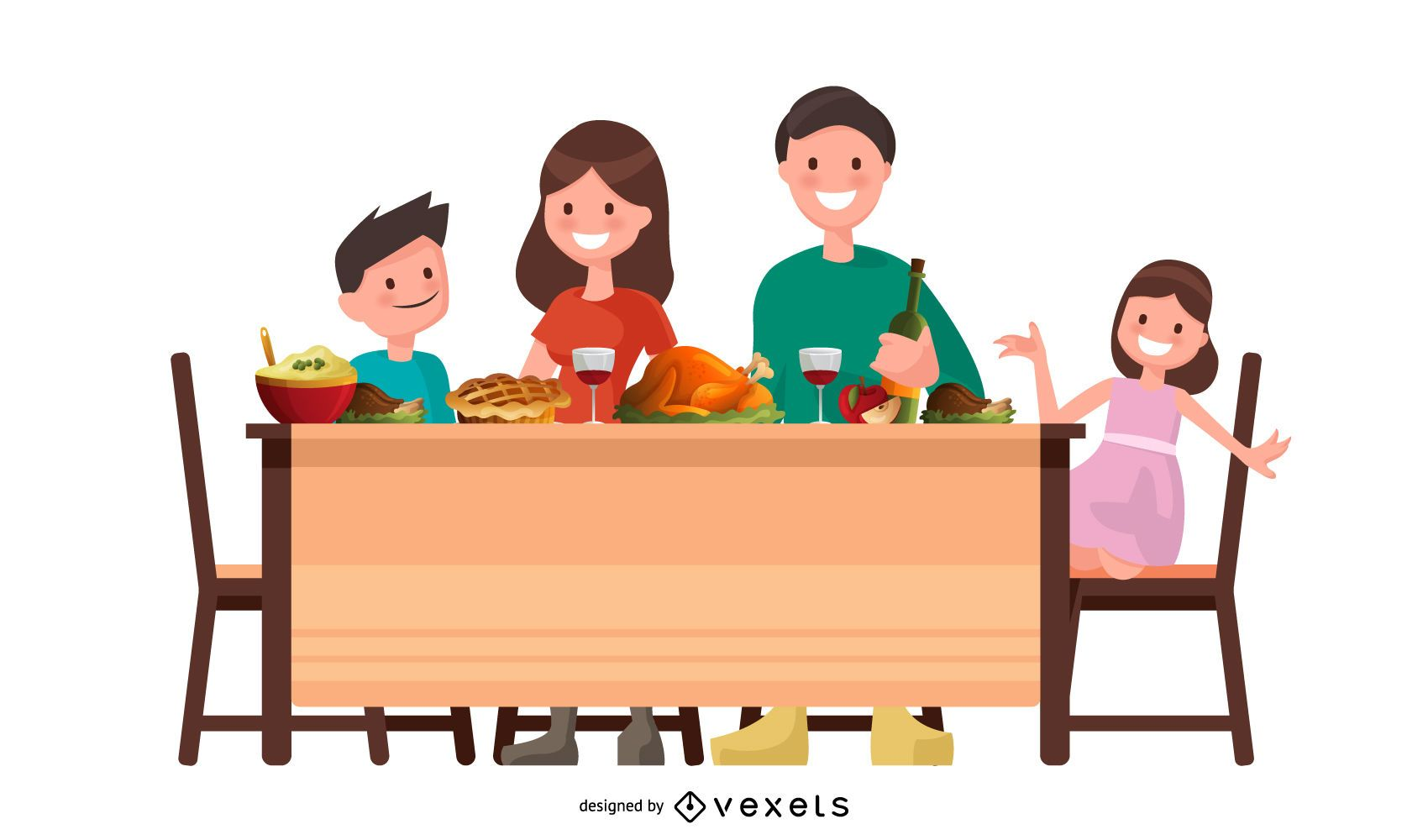 Thanksgiving family vector design