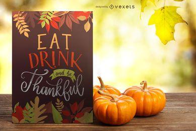 Essen Sie Getränk sei dankbar Banner