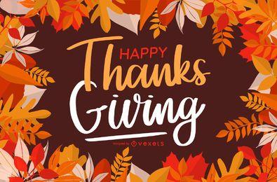 Diseño de tarjeta de felicitación de acción de gracias feliz