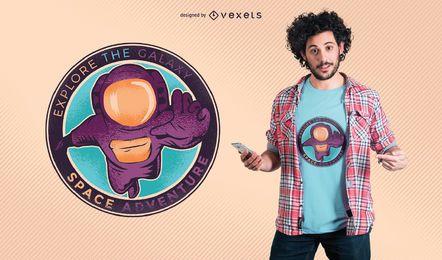 Diseño de camiseta de aventura espacial.