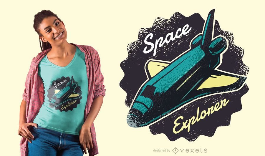 Projeto do t-shirt do shuttle do explorador do espaço