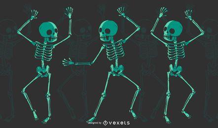 Esqueleto bailando camiseta de diseño.