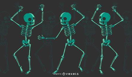 T-shirt de dança de esqueleto