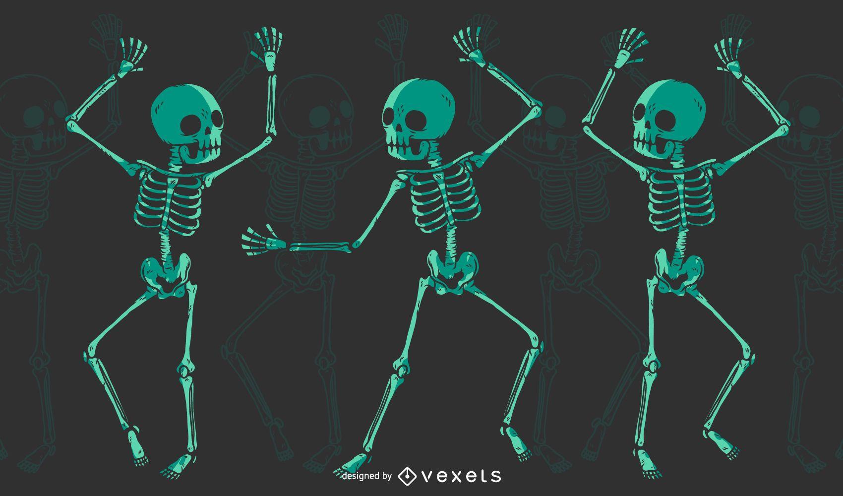 Skeleton dancing t-shirt design