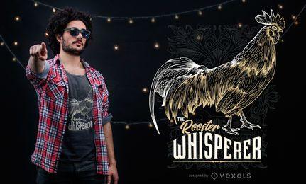 Projeto gráfico do t-shirt do Whisperer do galo