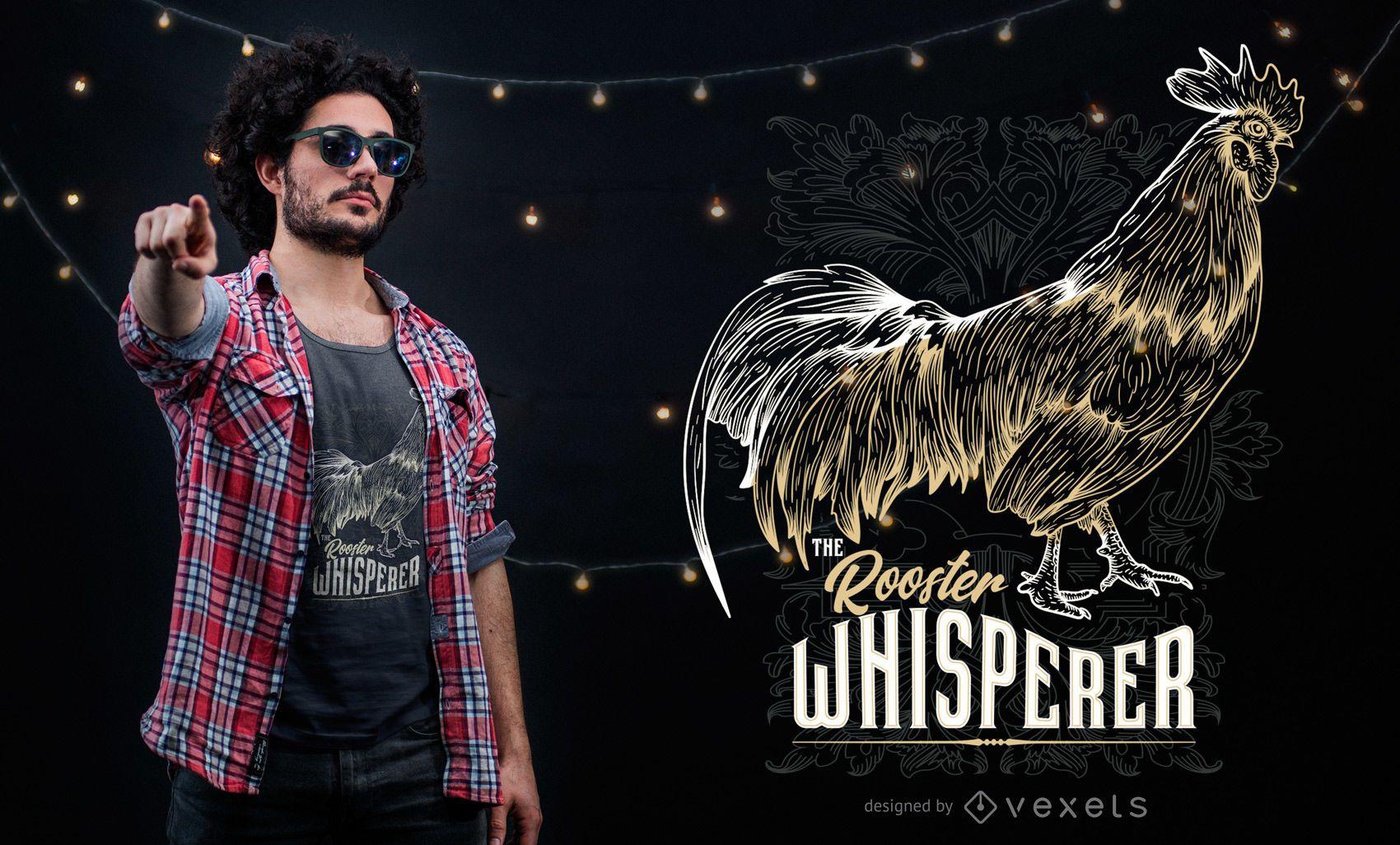 Design gráfico de t-shirt Galo Whisperer