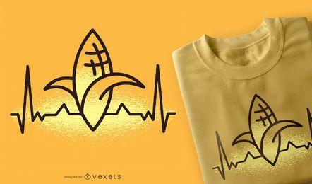 Diseño de camiseta de granja de ECG de Heartbeat de maíz