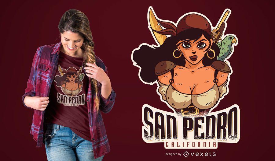Diseño de camiseta femenina pirata california
