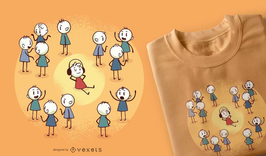 Projeto do t-shirt dos desenhos animados de Stickmen
