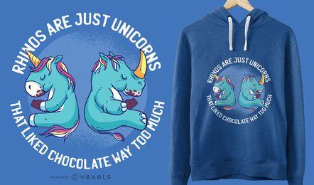 Projeto gráfico do t-shirt do unicórnio e do rinoceronte